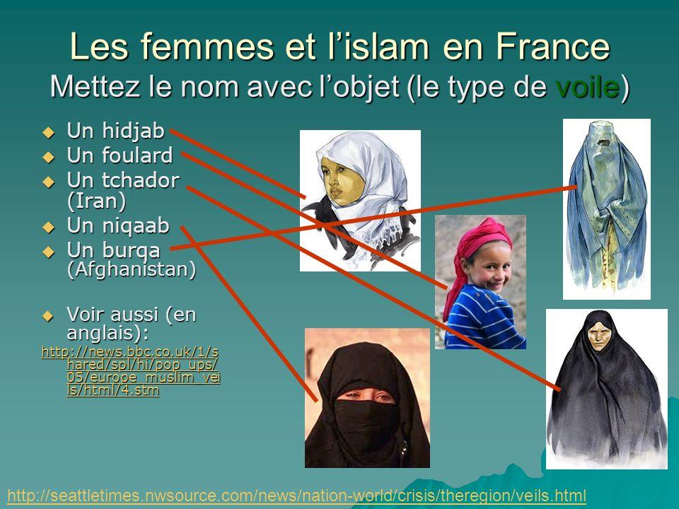 Les femmes et l'islam en France Mettez le nom avec l'objet (le type de voile)