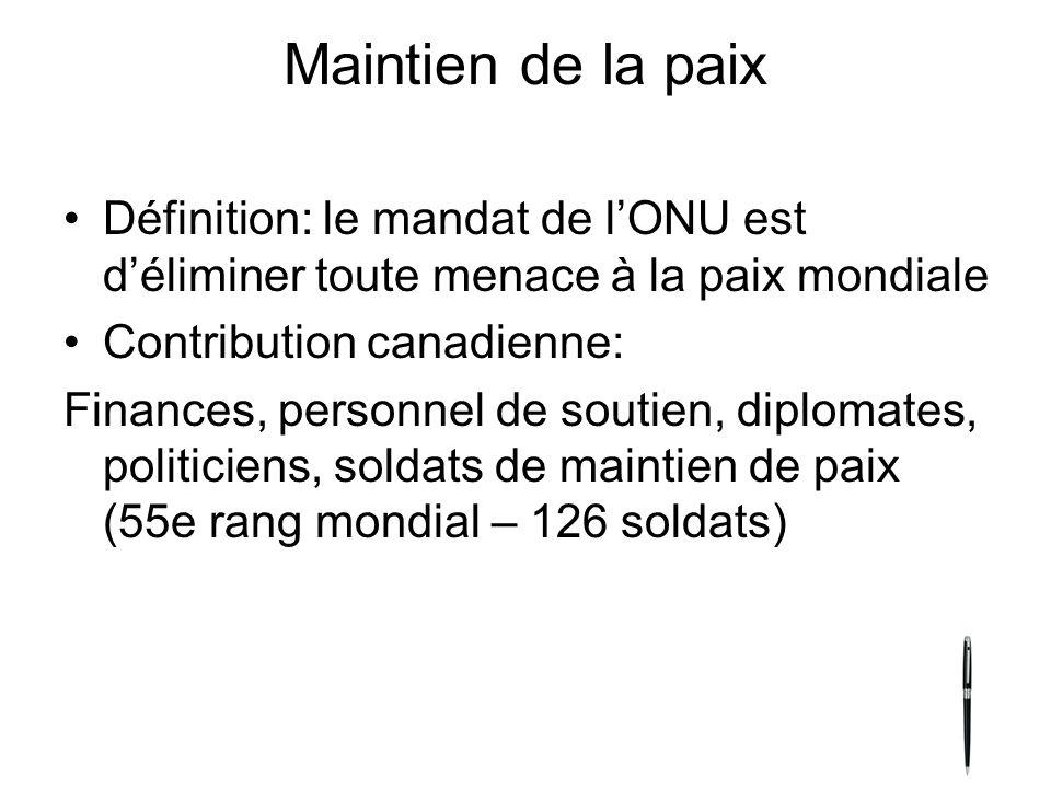 Maintien de la paix Définition: le mandat de l'ONU est d'éliminer toute menace à la paix mondiale. Contribution canadienne: