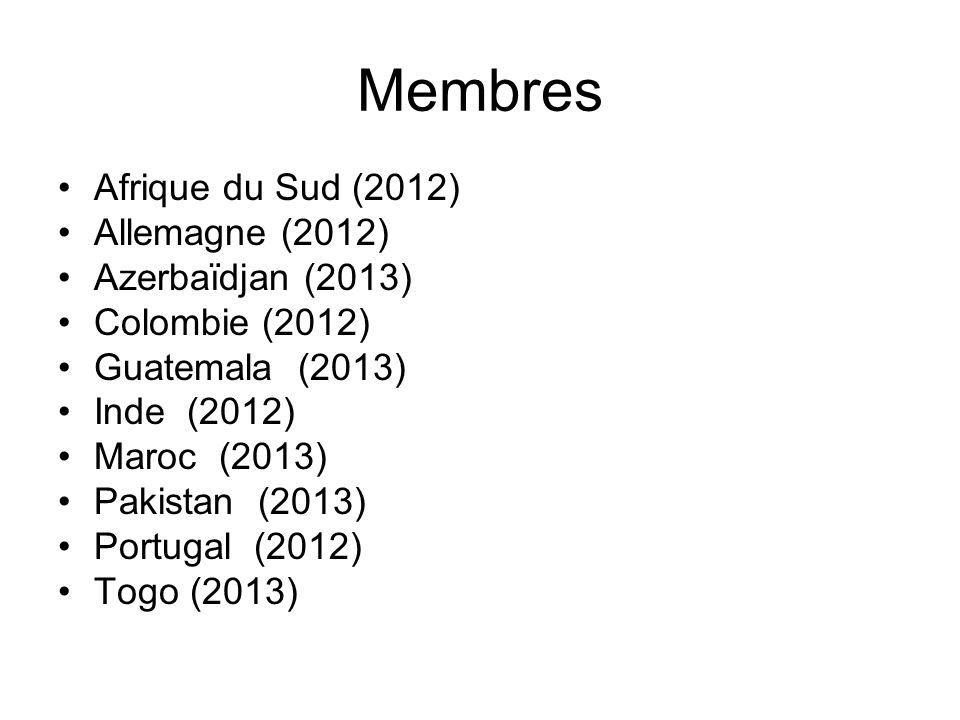 Membres Afrique du Sud (2012) Allemagne (2012) Azerbaïdjan (2013)