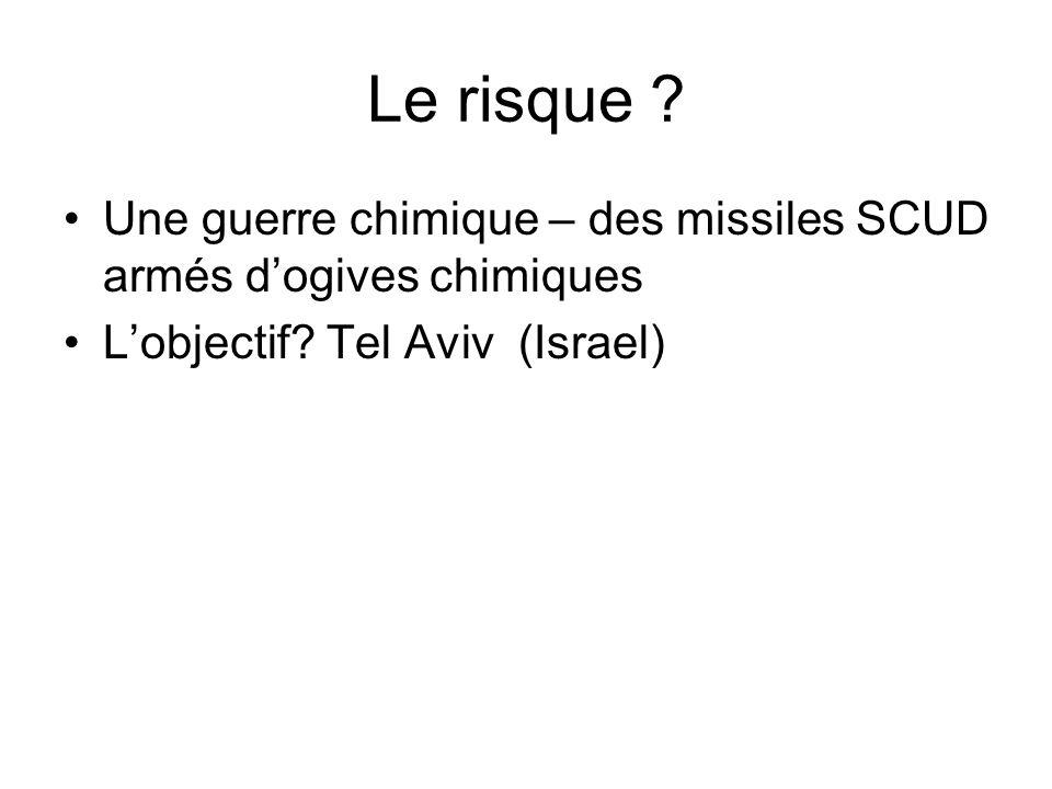 Le risque . Une guerre chimique – des missiles SCUD armés d'ogives chimiques.