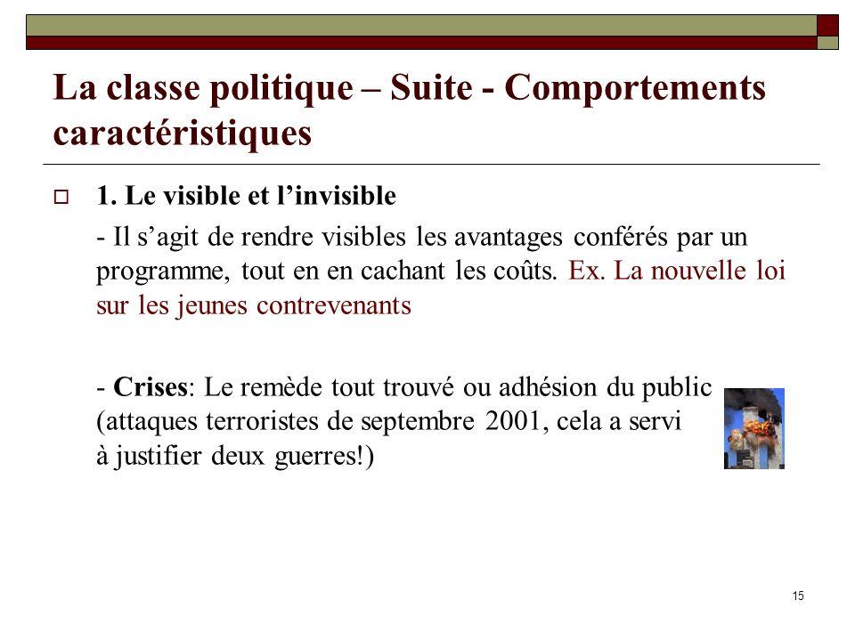 La classe politique – Suite - Comportements caractéristiques