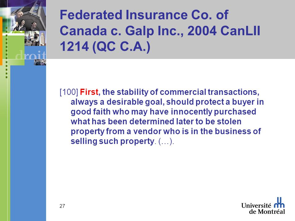 Federated Insurance Co. of Canada c. Galp Inc., 2004 CanLII 1214 (QC C.A.)