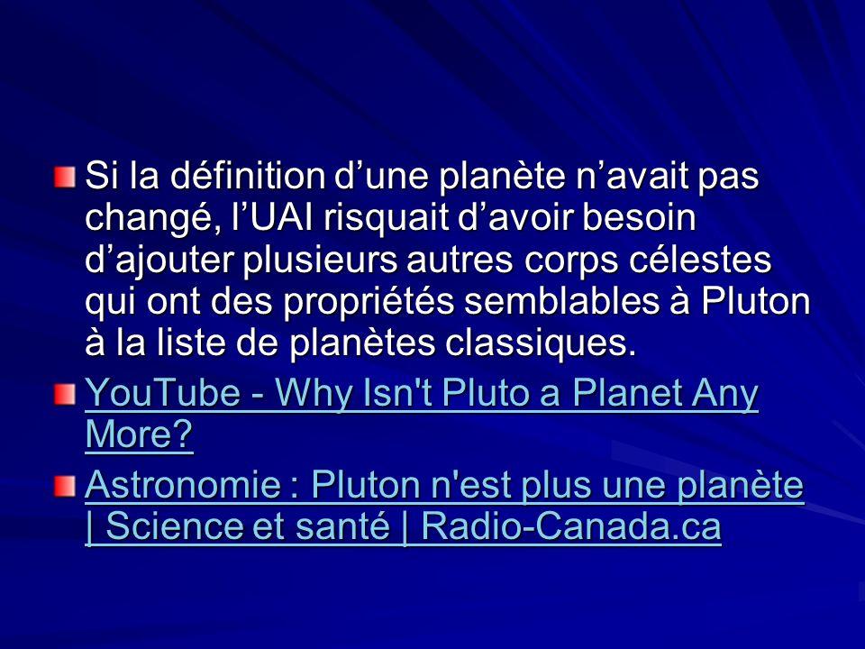 Si la définition d'une planète n'avait pas changé, l'UAI risquait d'avoir besoin d'ajouter plusieurs autres corps célestes qui ont des propriétés semblables à Pluton à la liste de planètes classiques.