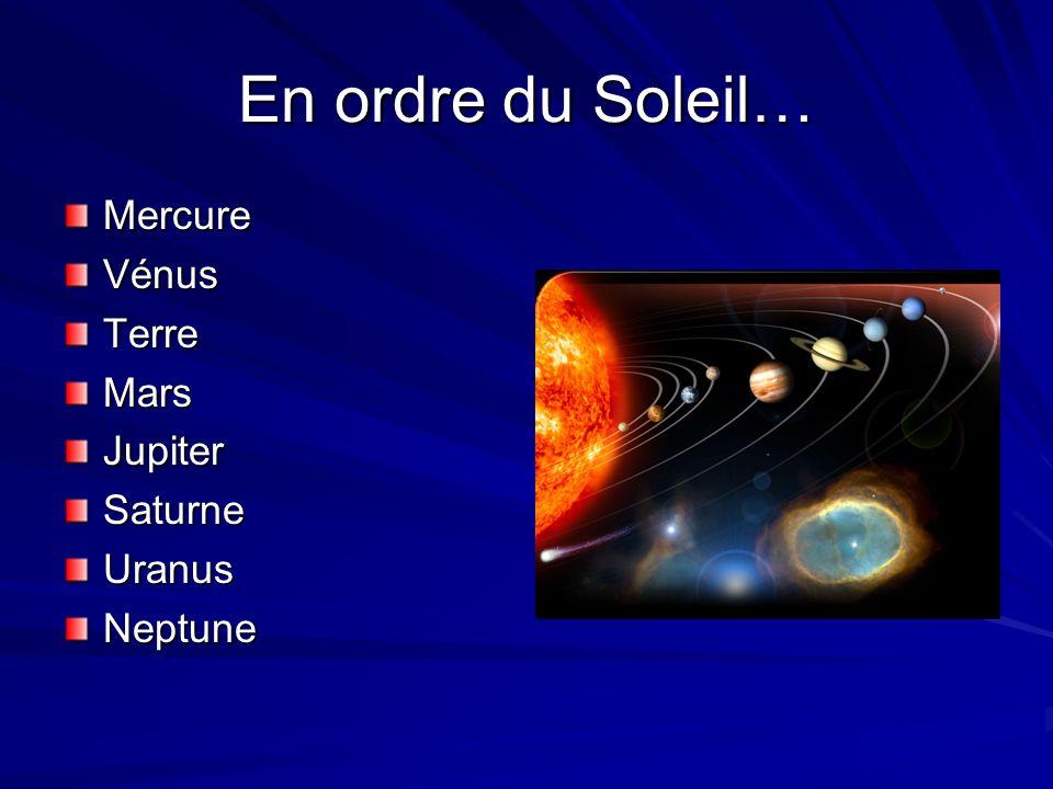 En ordre du Soleil… Mercure Vénus Terre Mars Jupiter Saturne Uranus