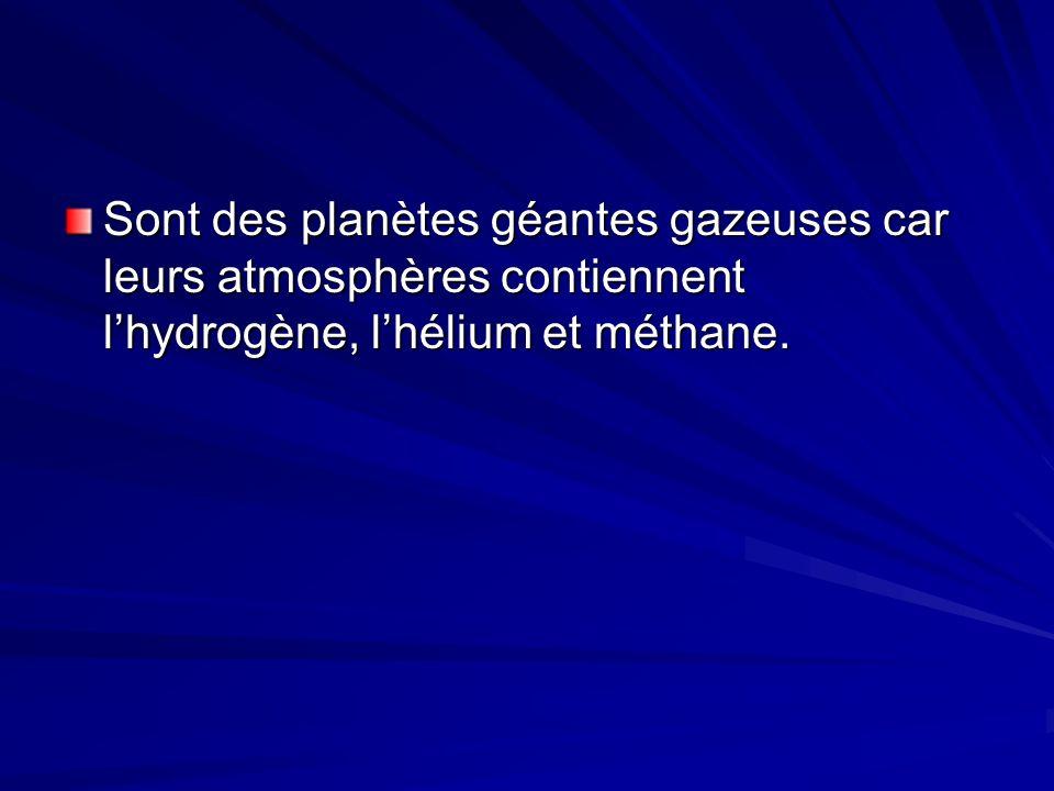 Sont des planètes géantes gazeuses car leurs atmosphères contiennent l'hydrogène, l'hélium et méthane.