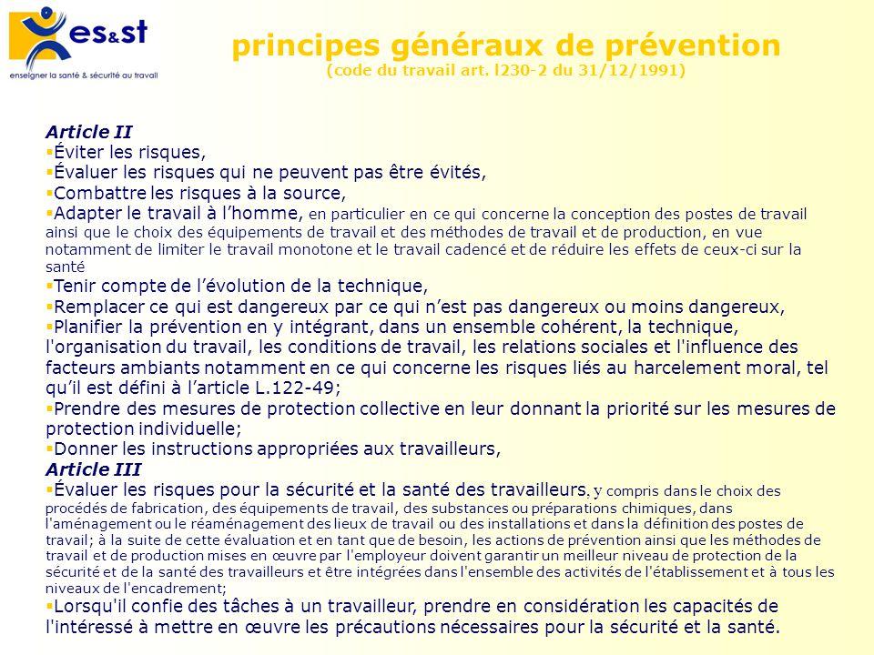 principes généraux de prévention (code du travail art