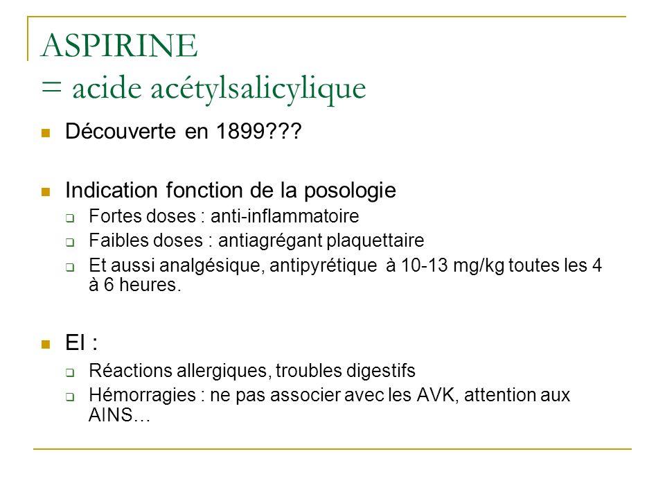 ASPIRINE = acide acétylsalicylique