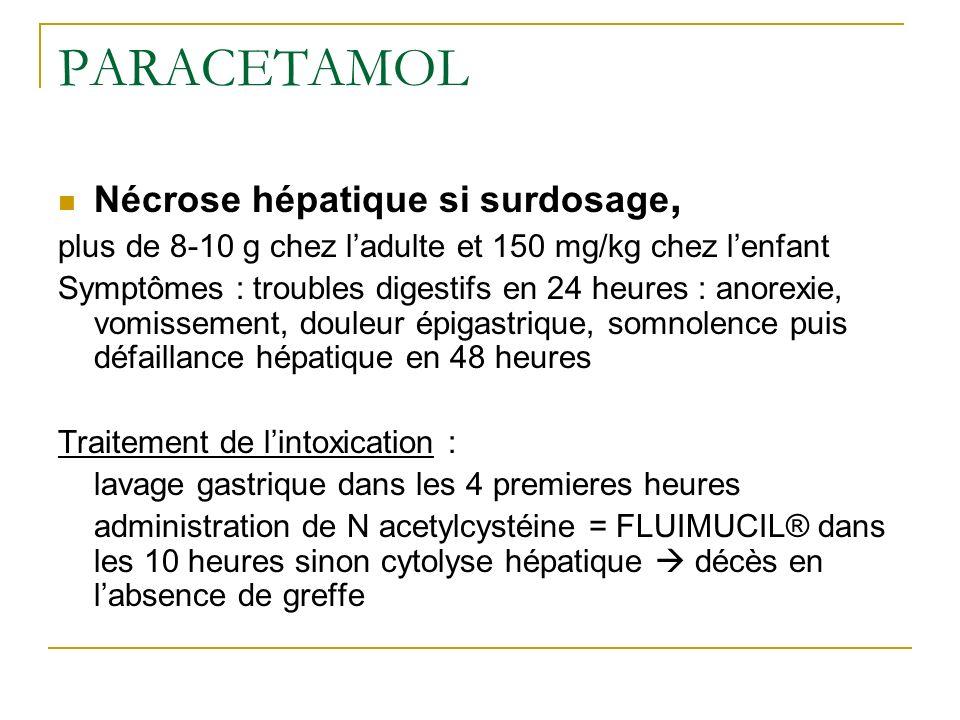 PARACETAMOL Nécrose hépatique si surdosage,