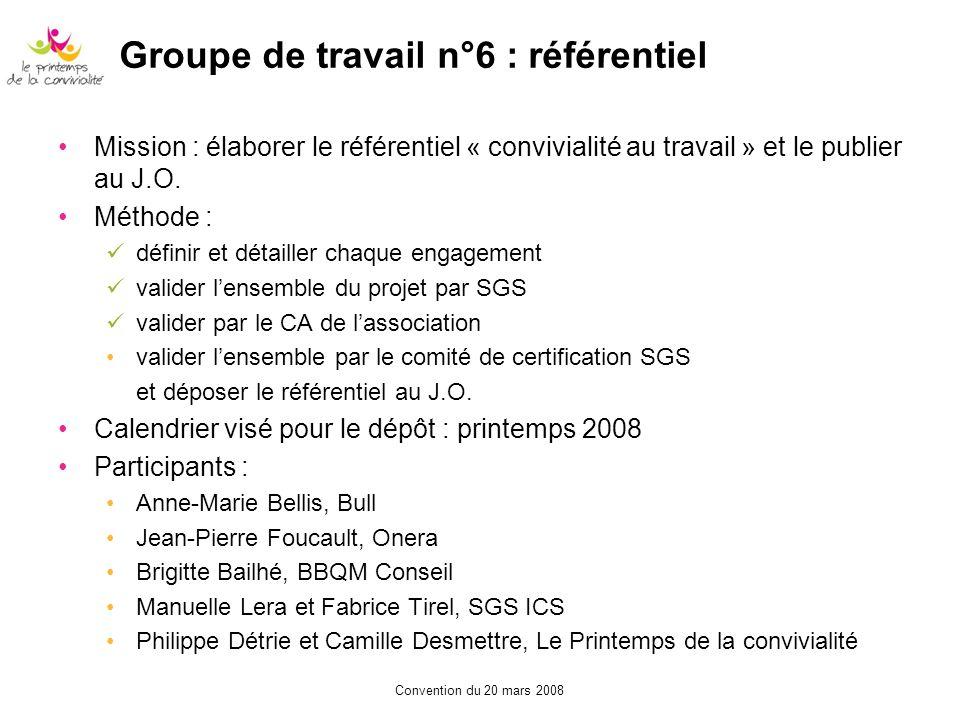 Groupe de travail n°6 : référentiel