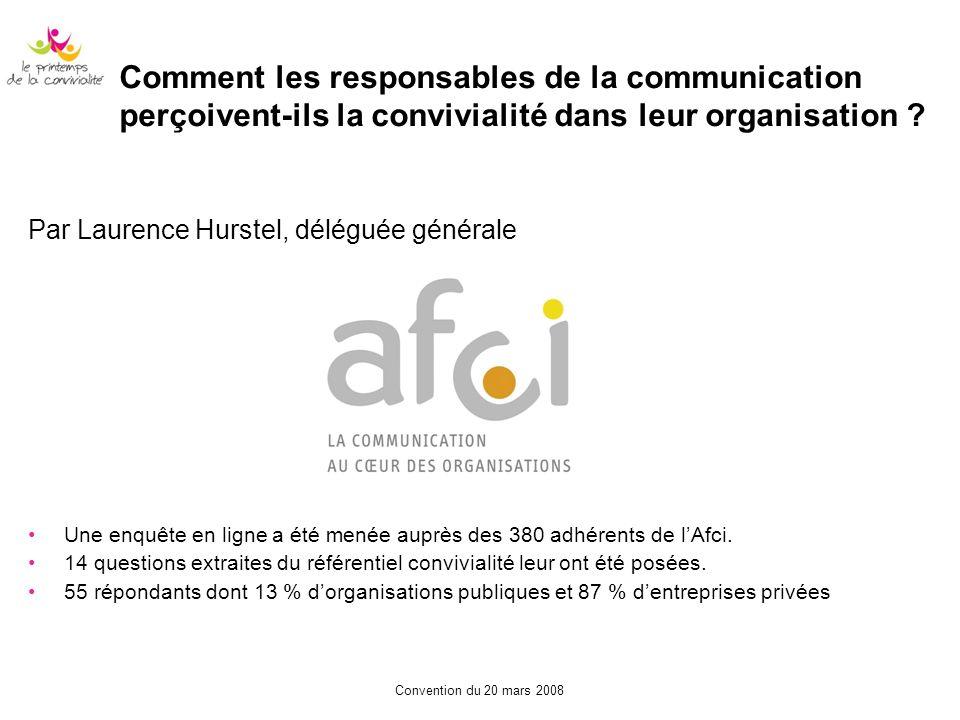 Comment les responsables de la communication perçoivent-ils la convivialité dans leur organisation