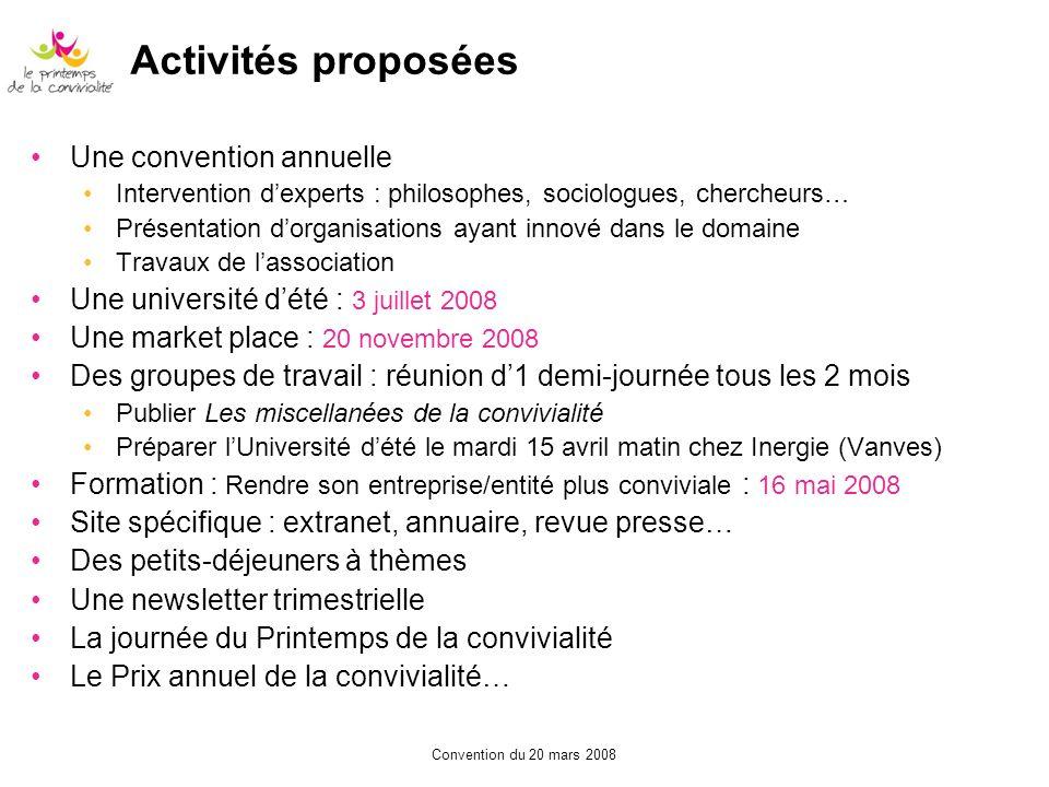 Activités proposées Une convention annuelle