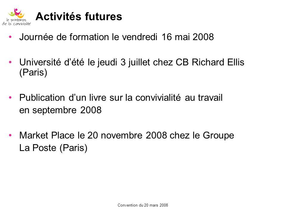 Activités futures Journée de formation le vendredi 16 mai 2008