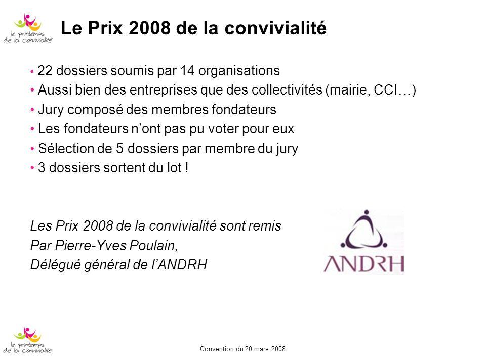 Le Prix 2008 de la convivialité