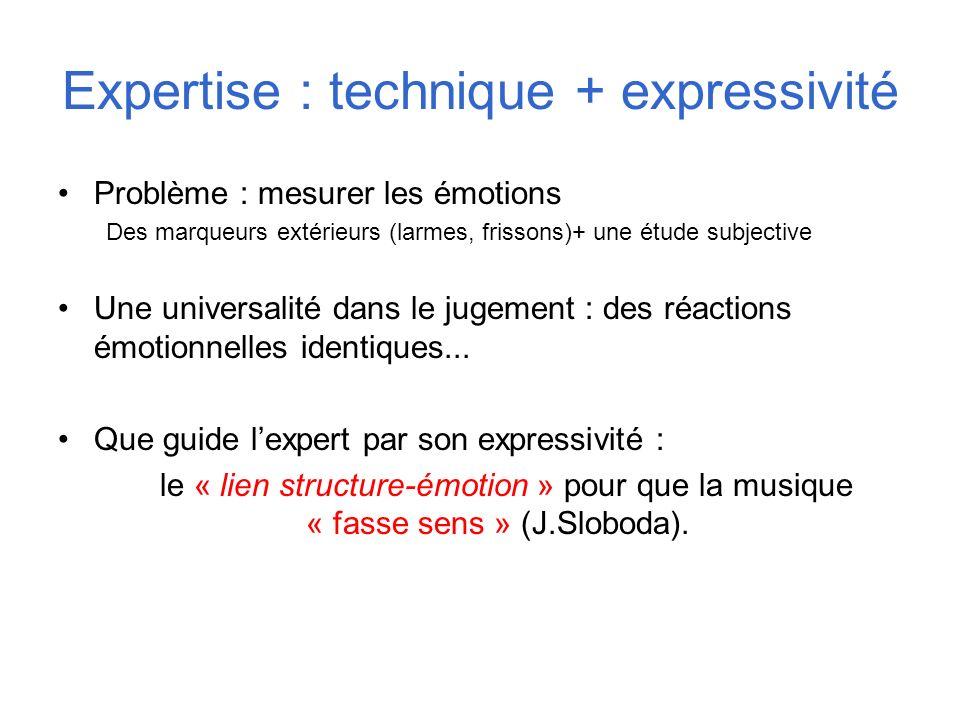 Expertise : technique + expressivité