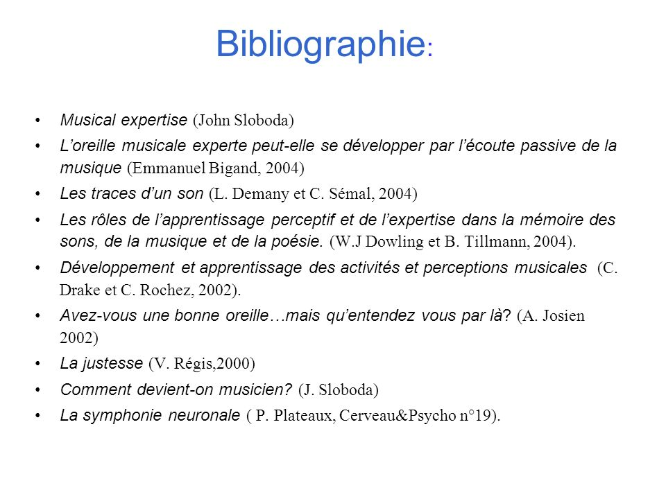 Bibliographie: Musical expertise (John Sloboda)