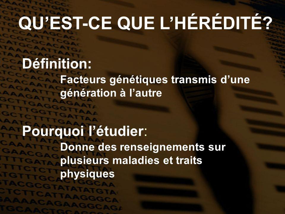 QU'EST-CE QUE L'HÉRÉDITÉ