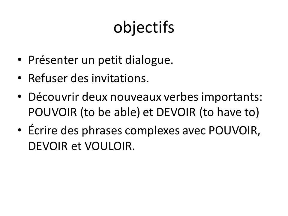 objectifs Présenter un petit dialogue. Refuser des invitations.