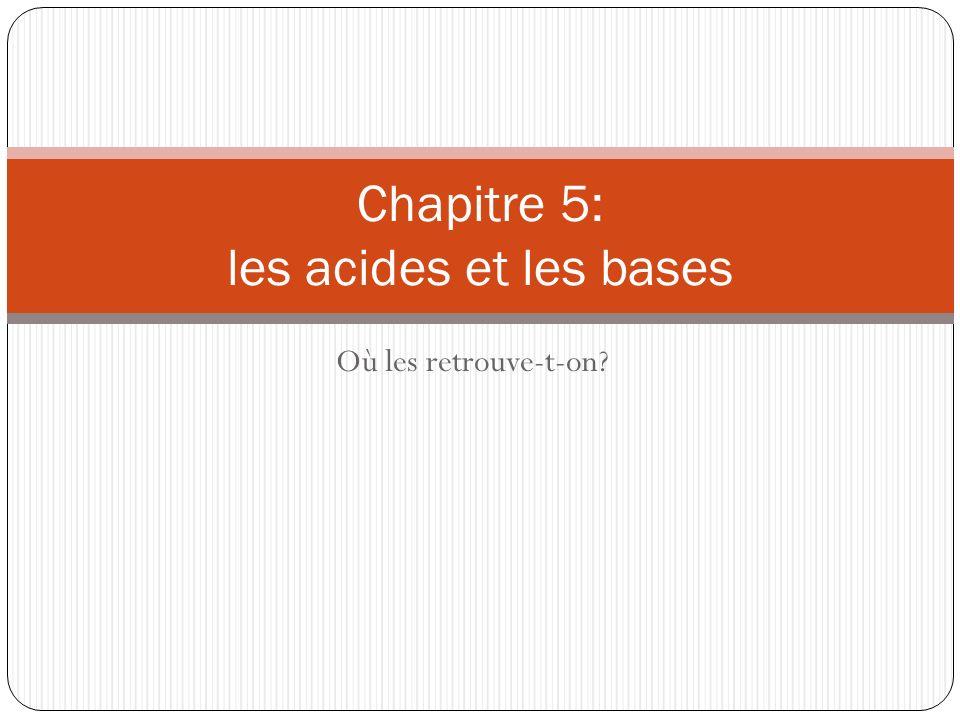 Chapitre 5: les acides et les bases