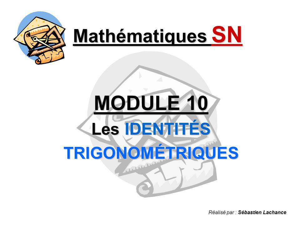 MODULE 10 Les IDENTITÉS TRIGONOMÉTRIQUES