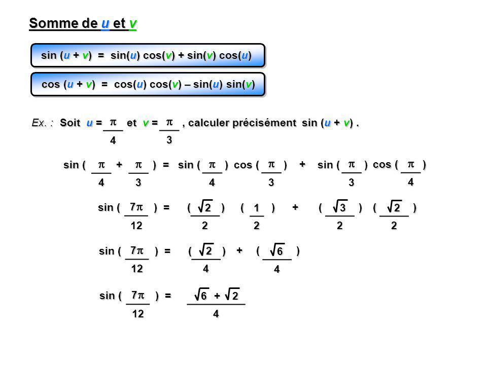 Somme de u et v sin (u + v) = sin(u) cos(v) + sin(v) cos(u) cos (u + v) = cos(u) cos(v) – sin(u) sin(v)
