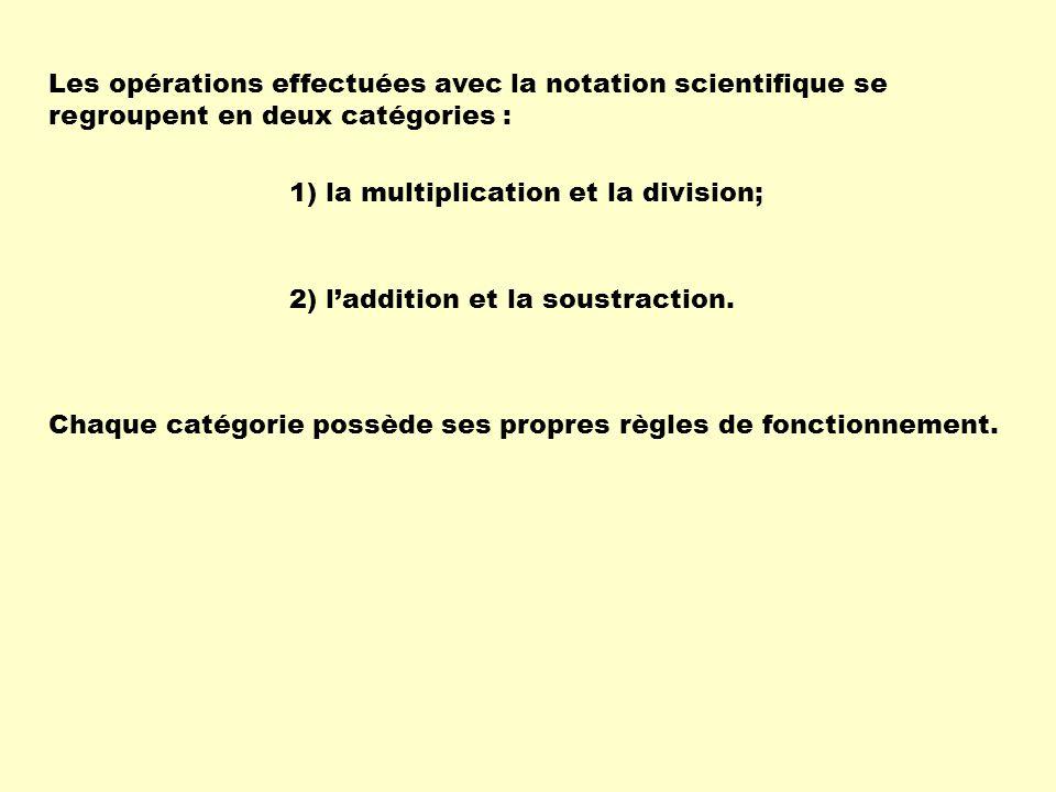 Les opérations effectuées avec la notation scientifique se regroupent en deux catégories :
