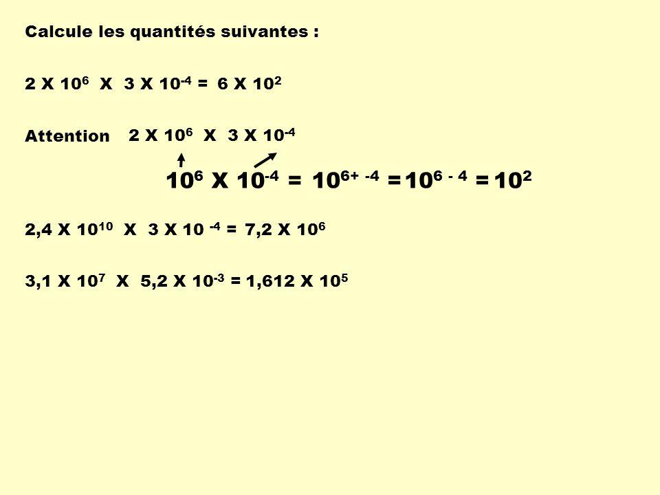 106 X 10-4 = 106+ -4 = 106 - 4 = 102 Calcule les quantités suivantes :