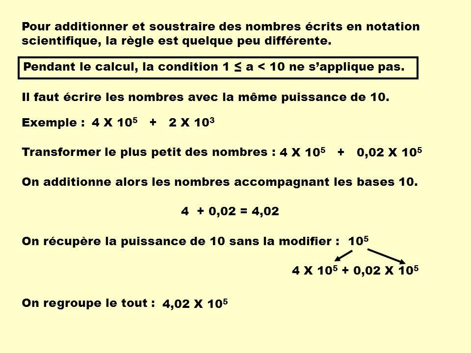 Pour additionner et soustraire des nombres écrits en notation scientifique, la règle est quelque peu différente.