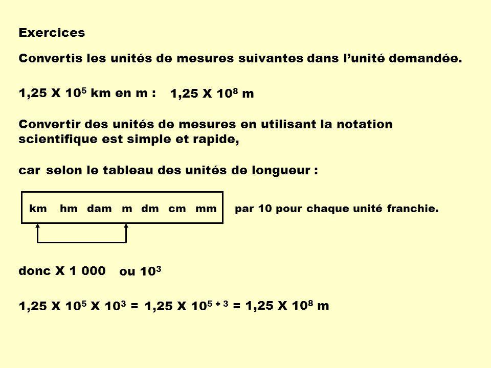 Convertis les unités de mesures suivantes dans l'unité demandée.