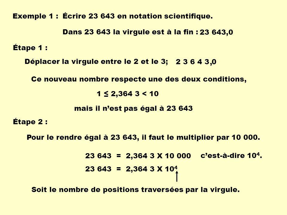 Exemple 1 : Écrire 23 643 en notation scientifique. Dans 23 643 la virgule est à la fin : 23 643,0.