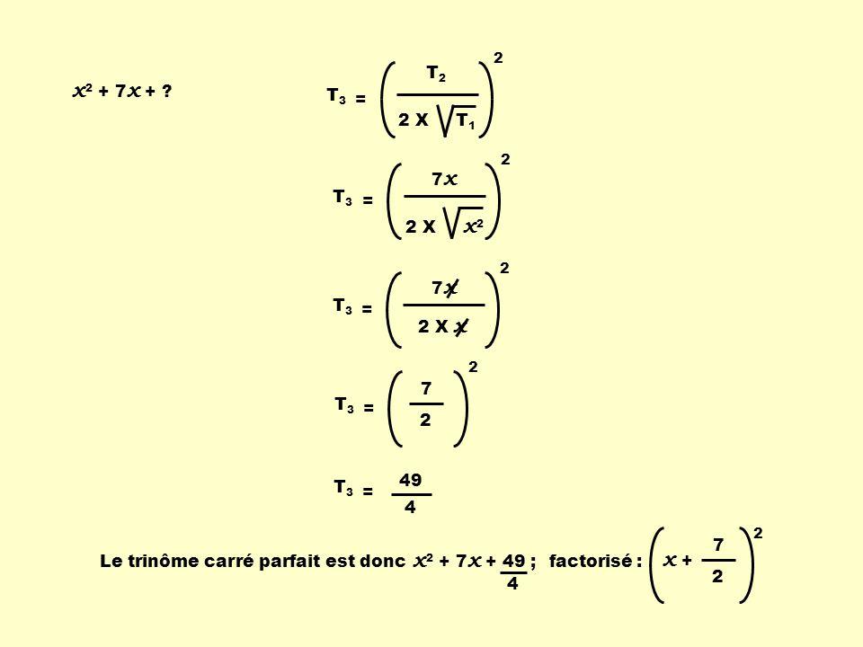 x2 + 7x + x2 + 7x + 49 ; T2 2 X T1 T3 = 7x 2 X x2 T3 = 7x 2 X x T3 =