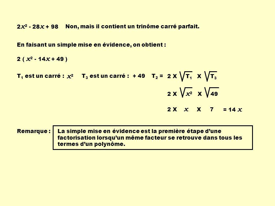 x2 2x2 - 28x + 98 Non, mais il contient un trinôme carré parfait.