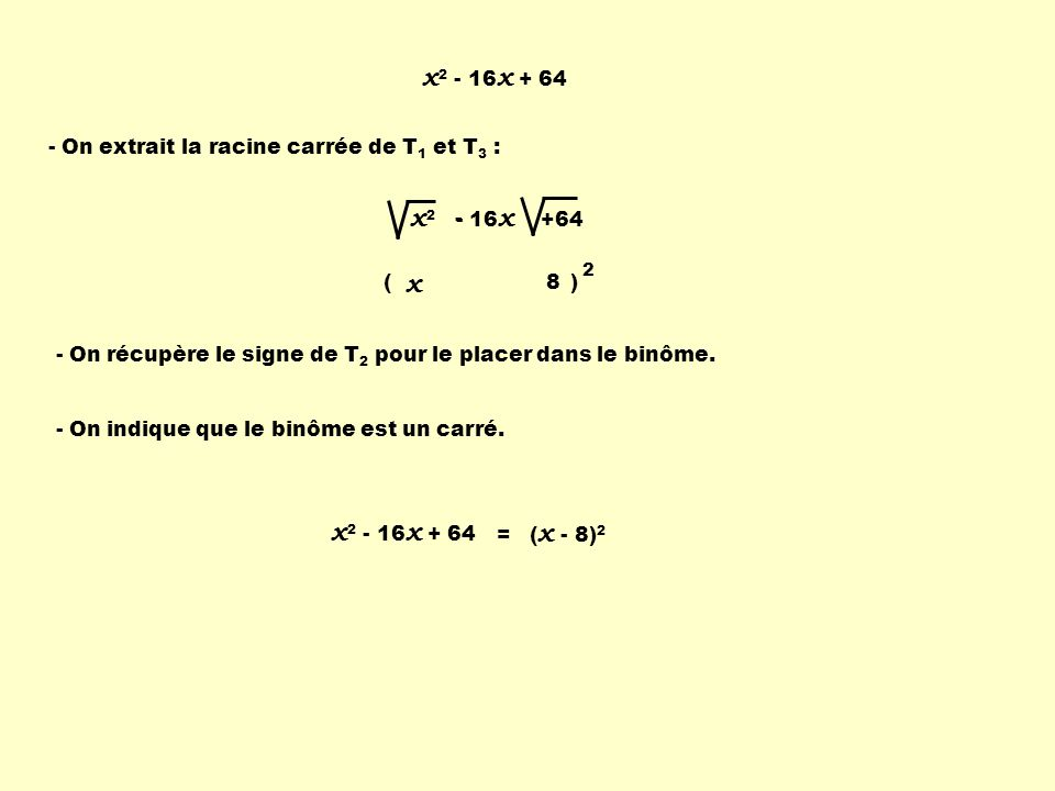x2 - 16x + 64 - On extrait la racine carrée de T1 et T3 : x2 - 16x +64. - 2. ( ) x. 8.
