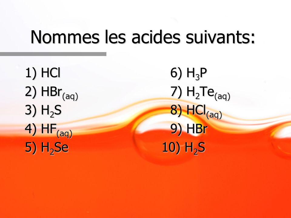 Nommes les acides suivants: