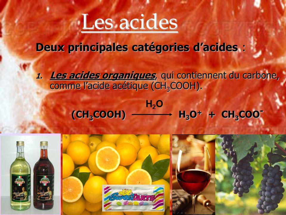 Les acides Deux principales catégories d'acides :
