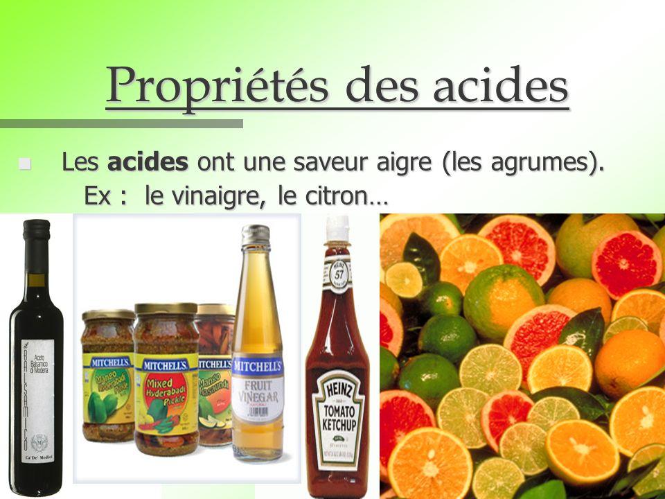 Propriétés des acides Les acides ont une saveur aigre (les agrumes).