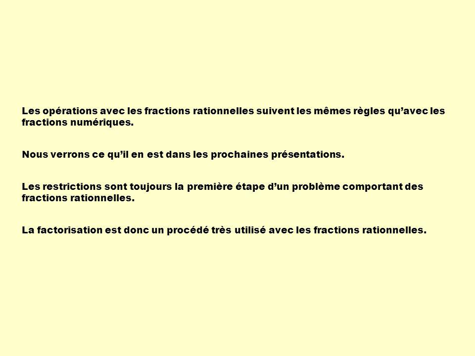 Les opérations avec les fractions rationnelles suivent les mêmes règles qu'avec les fractions numériques.