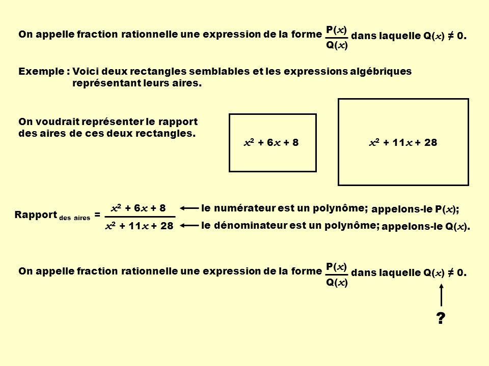 dans laquelle Q(x) ≠ 0. On appelle fraction rationnelle une expression de la forme. Q(x) P(x) Exemple :