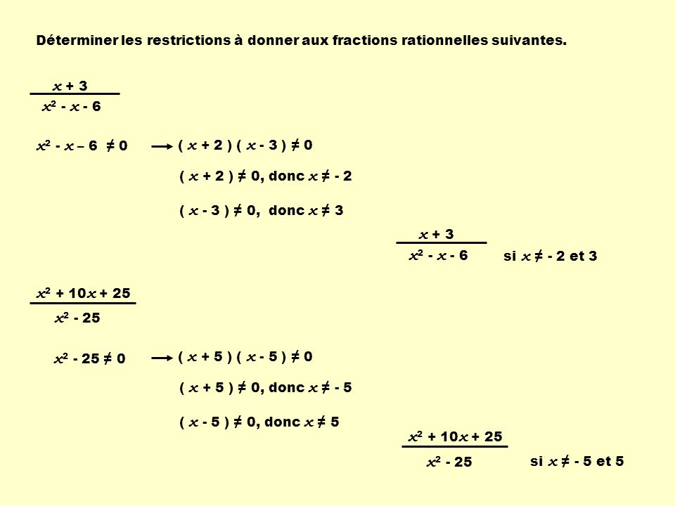 x + 3 x2 - x - 6 x2 - x – 6 ≠ 0 x + 3 x2 - x - 6 x2 + 10x + 25 x2 - 25