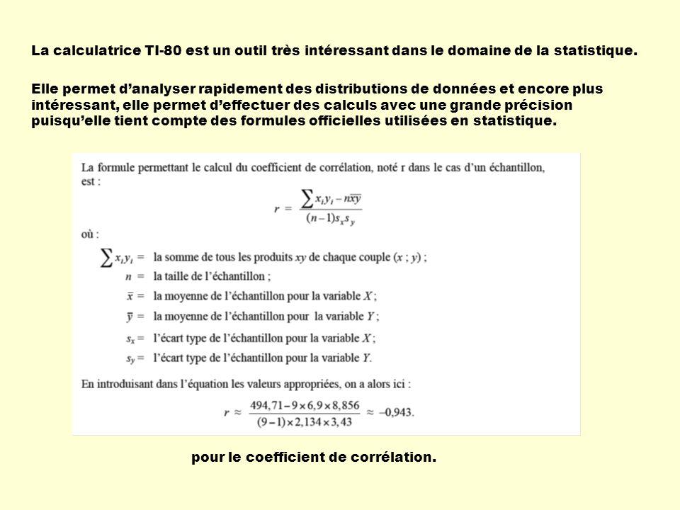 La calculatrice TI-80 est un outil très intéressant dans le domaine de la statistique.