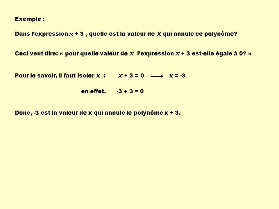 Exemple : Dans l'expression x + 3 , quelle est la valeur de x qui annule ce polynôme