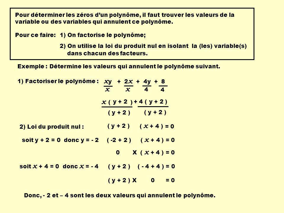 Pour déterminer les zéros d'un polynôme, il faut trouver les valeurs de la variable ou des variables qui annulent ce polynôme.