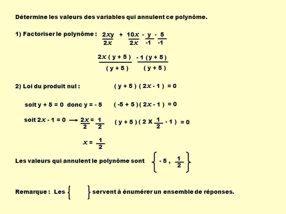 x = Détermine les valeurs des variables qui annulent ce polynôme.