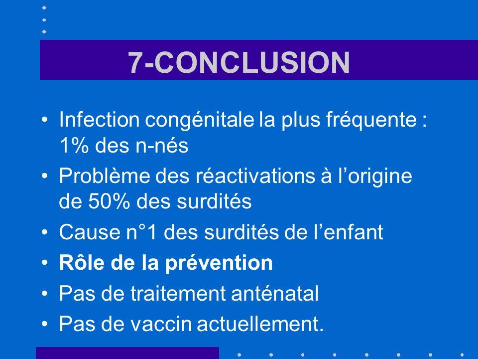 7-CONCLUSION Infection congénitale la plus fréquente : 1% des n-nés