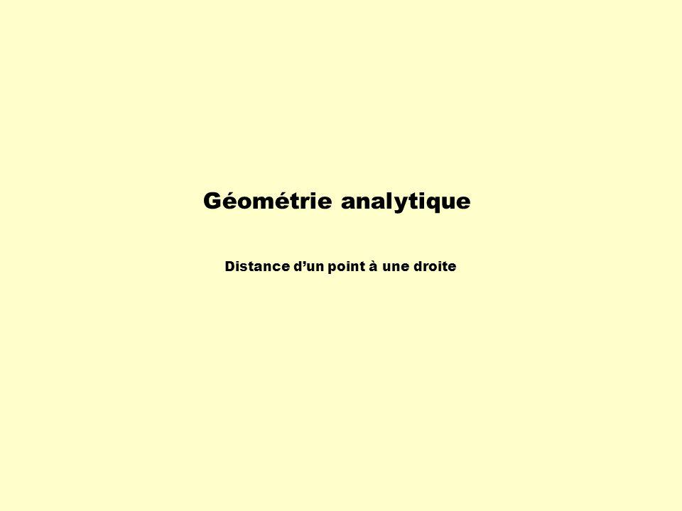 Géométrie analytique Distance d'un point à une droite