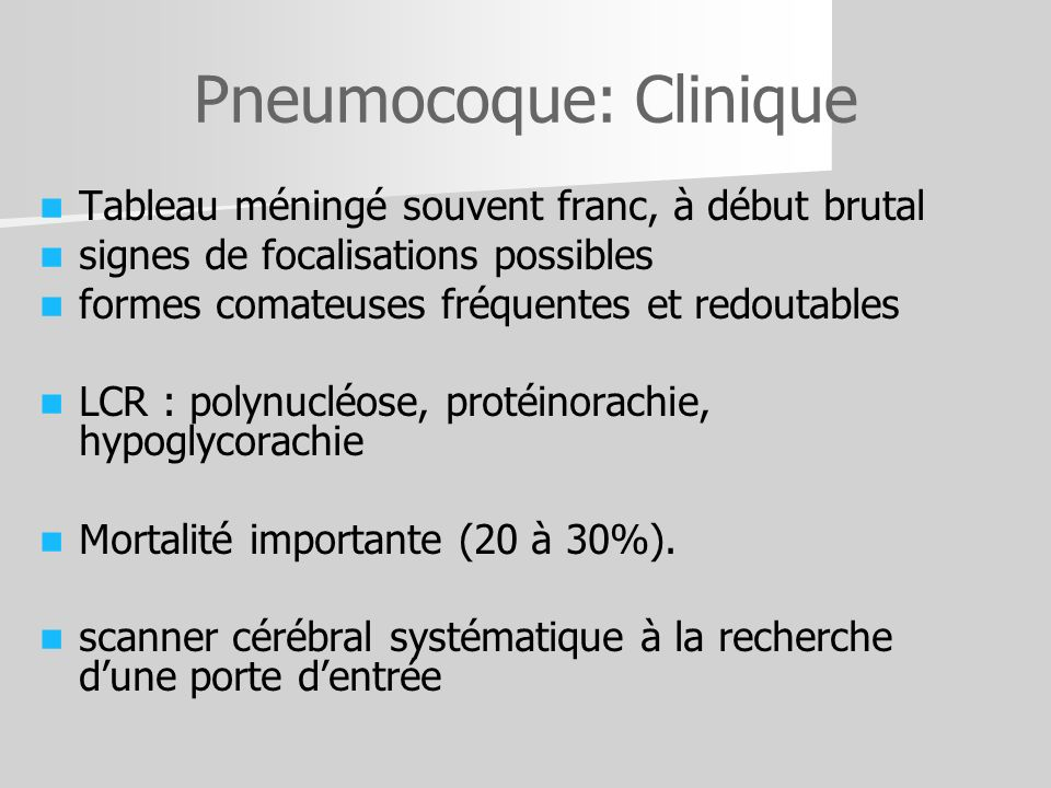 Pneumocoque: Clinique