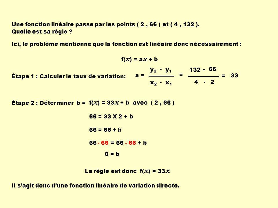 Une fonction linéaire passe par les points ( 2 , 66 ) et ( 4 , 132 ).