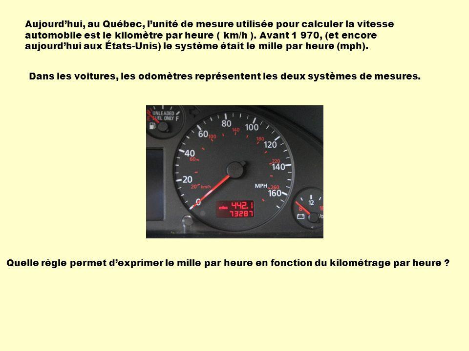 Aujourd'hui, au Québec, l'unité de mesure utilisée pour calculer la vitesse automobile est le kilomètre par heure ( km/h ). Avant 1 970, (et encore aujourd'hui aux États-Unis) le système était le mille par heure (mph).