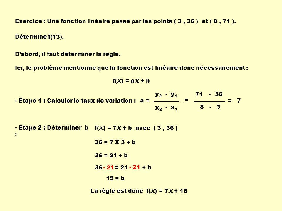 Exercice : Une fonction linéaire passe par les points ( 3 , 36 ) et ( 8 , 71 ).