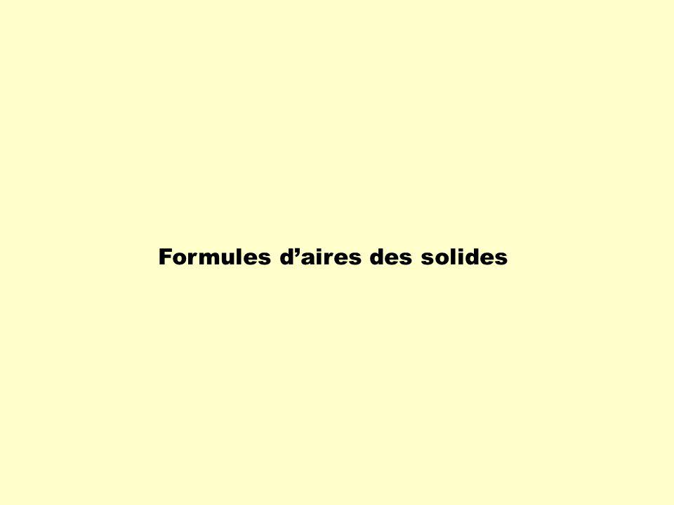 Formules d'aires des solides