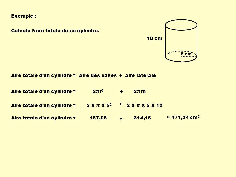 Calcule l'aire totale de ce cylindre.